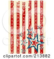 Royalty Free RF Clipart Illustration Of A Grungy Background Of Distressed Vertical American Stars And Stripes