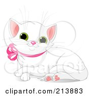 Royalty Free RF Clipart Illustration Of A Resting White Kitten With A Pink Ribbon Collar