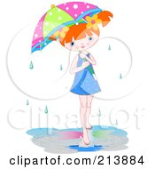 Little Girl In A Puddle Under An Umbrella On A Rainy Day