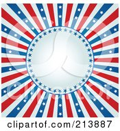 Royalty Free RF Clipart Illustration Of A Fourth Of July Background With A Burst Of Stars And Stripes Around A Circle