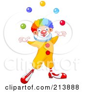 Royalty Free RF Clipart Illustration Of A Happy Clown With Rainbow Hair Juggling by Pushkin