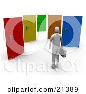 Clipart Illustration Of An Uncertain Gray Person Standing Before Colorful Doors Of Opportunities