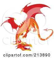 Royalty Free RF Clipart Illustration Of A Fierce Flying Orange Dragon by Pushkin