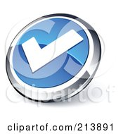 Shiny Blue White And Chrome Tick Mark App Button