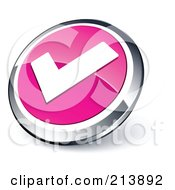 Shiny Pink White And Chrome Tick Mark App Button