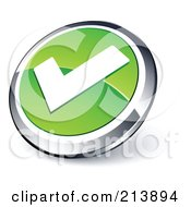 Shiny Green White And Chrome Tick Mark App Button