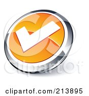 Shiny Orange White And Chrome Tick Mark App Button