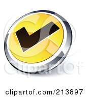 Shiny Yellow Black And Chrome Tick Mark App Button