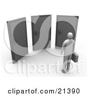Clipart Illustration Of A Gray Person Standing Before Three Doors Symbolizing Opportunity And Uncertainty