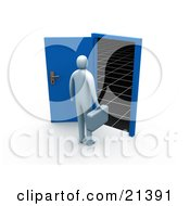 Clipart Illustration Of A Blue Person Carrying A Briefcase And Standing Before An Open Blue Door Leading To The Unknown Of The Future