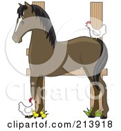 Royalty Free RF Clipart Illustration Of A Barnyard Horse Fence And Chickens In The Shape Of An H
