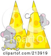 Two Hungry Mice Eating Cheese In The Shape Of An M