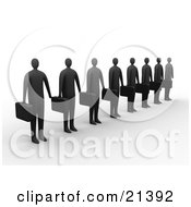 Clipart Illustration Of A Line Of Dark Businessemen Carrying Briefcases And Waiting