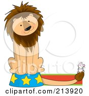 Circus Lion On A Podium Watching A Mouse In The Shape Of A L
