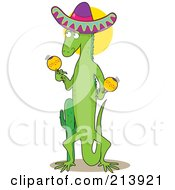 Royalty Free RF Clipart Illustration Of A Mexican Iguana Shaking Maracas In The Shape Of An I by Maria Bell