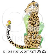 Royalty Free RF Clipart Illustration Of A Jaguar Watching A Butterfly On His Tail In The Shape Of A J by Maria Bell