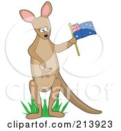 Kangaroo Waving An Aussie Flag In The Shape Of A K