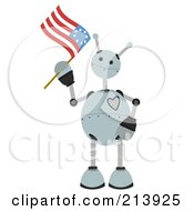 Royalty Free RF Clipart Illustration Of A Patriotic Springy Robot Waving An American Flag