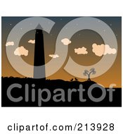 Royalty Free RF Clipart Illustration Of A Silhouetted Lighthouse Beach Chairs And Palm Trees Against A Dusk Sky