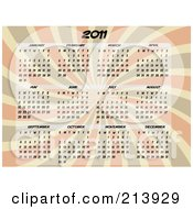 Royalty Free RF Clipart Illustration Of A 2011 Calendar With All 12 Months Over A Burst