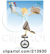 Royalty Free RF Clipart Illustration Of A Busy Blond Woman Riding A Unicycle And Juggling Life Responsibilities