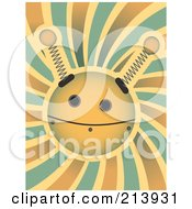 Royalty Free RF Clipart Illustration Of A Springy Robot Face Over A Spiral Background