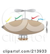 Royalty Free RF Clipart Illustration Of A Flying Airship With Colorful Flags by mheld