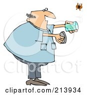 Royalty Free RF Clipart Illustration Of A Chubby Man Releasing A Butterfly From A Jar by Dennis Cox