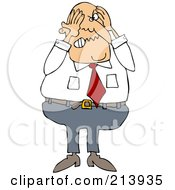 Royalty Free RF Clipart Illustration Of A Stressed Businessman Grabbing His Head by djart