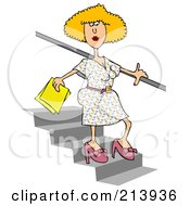 Blond Woman Walking Down Stairs