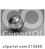 Royalty Free RF Clipart Illustration Of A 3d Black And Silver Globe Showing North And South America by stockillustrations
