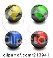 Royalty Free RF Clipart Illustration Of A Digital Collage Of 3d Colorful Europe And Africa Globes