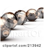 Royalty Free RF Clipart Illustration Of A Curving Line Of 3d World Globes With America And Africa In Focus by stockillustrations
