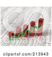 Royalty Free RF Clipart Illustration Of A Green Line Over 3d Red Bar Graphs On Top Of A Daily Newspaper Showing Financial Statistics