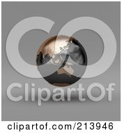 Royalty Free RF Clipart Illustration Of A 3d Floating Black And Copper Globe Showing Asia And Australia
