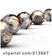 Royalty Free RF Clipart Illustration Of A Curving Line Of 3d World Globes With North And South America In Focus by stockillustrations