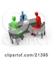 Red And A Green Person Seated In Chairs While Discussing Business With A Man In An Office