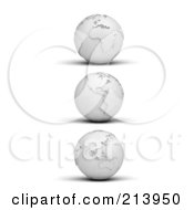 Royalty Free RF Clipart Illustration Of A Digital Collage Of Three 3d White Paper Globes With Shadows On White