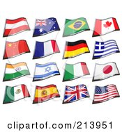 Royalty Free RF Clipart Illustration Of A Digital Collage Of 16 3d Waving Country Flags by stockillustrations