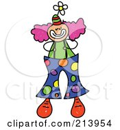 Royalty Free RF Clipart Illustration Of A Childs Sketch Of A Clown With Big Spotted Pants by Prawny