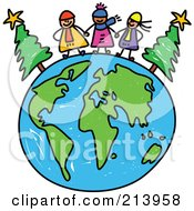 Royalty Free RF Clipart Illustration Of A Childs Sketch Of Happy Winter Children On A Globe by Prawny