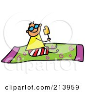 Royalty Free RF Clipart Illustration Of A Childs Sketch Of Childs Sketch Of A Boy Eating A Popsicle On A Towel by Prawny