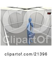 Clipart Illustration Of A Lone Blue Businessman In A Tie Holding A Briefcase And Standing Patiently In An Elevator