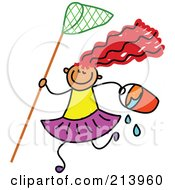 Royalty Free RF Clipart Illustration Of A Childs Sketch Of A Beach Girl With A Net And Bucket by Prawny