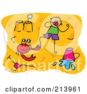Royalty Free RF Clipart Illustration Of A Childs Sketch Of Childs Sketch Of A Boy And Crab On A Beach by Prawny