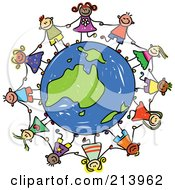 Royalty Free RF Clipart Illustration Of A Childs Sketch Of Children Holding Hands Around An Australian Globe by Prawny #COLLC213962-0089