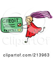 Royalty Free RF Clipart Illustration Of A Childs Sketch Of A Girl Carrying A Credit Card by Prawny
