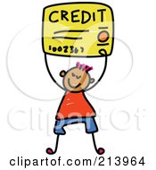 Royalty Free RF Clipart Illustration Of A Childs Sketch Of A Boy Carrying A Credit Card by Prawny