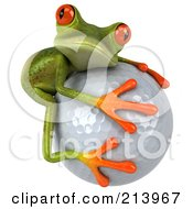 Royalty Free RF Clipart Illustration Of A 3d Springer Frog Hugging A Golf Ball