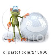 Royalty Free RF Clipart Illustration Of A 3d Springer Frog Standing By A Giant Golf Ball